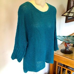 PETITE Eileen Fisher teal sweater small